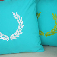 GREEK WREATH indoor and outdoor pillow,embroidered cushion cover
