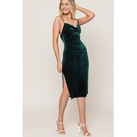 Forest Green Velvet Midi Dress