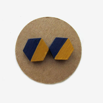 Georgia Tech Wooden Hexagon Yellow Gold Navy Gameday Earrings // Yellow and Navy // Georgia Tech // Gold and Navy // SEC // Ga Tech Football