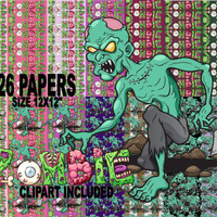 26 Eerie ZOMBIE PAPERS, Creepy Backgrounds, Zombie Apocalypse, Page 12 x 12 Halloween Paper, Spooky Digital Collage, ZOMBIE, Haunted Clipart