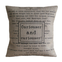 Curiouser and Curiouser Alice in Wonderland Hessian Burlap Linen Pillow Cushion Cover 16""