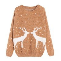 Partiss Womens Reindeer Pullover Sweater, S, Coffee