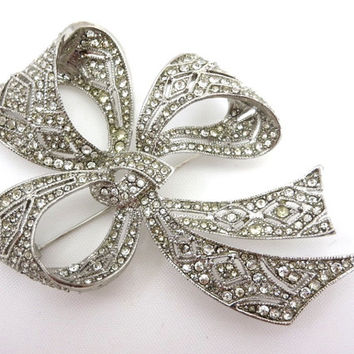 Kenneth Jay Lane Pave Rhinestone Bow Brooch - KJL Bridal Wedding Designer Costume Jewelry
