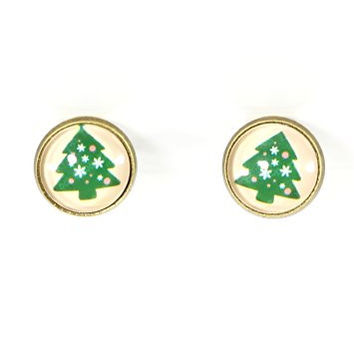 Christmas Tree Clip On Stud Earrings Vintage Art Gold Tone Posts EG01 Fashion Jewelry
