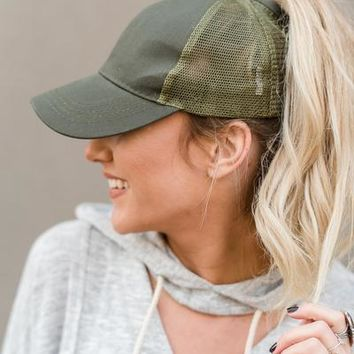 Messy Bun Baseball Hat - Olive