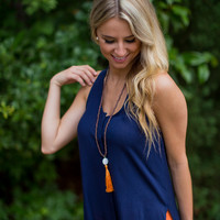 High-Low Tank Top in Navy