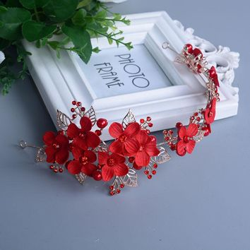 Bridal Headpiece Wedding Headband Red Color crystal lace flower Hair vine Headdress pearls wedding hair accessories