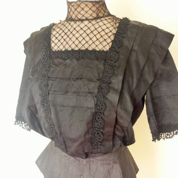 Victorian Mourning Blouse / Edwardian Silk Blouse / Antique Black Blouse / Downton Abbey / Victorian Clothing / Vintage Mourning Shirt