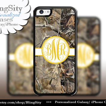 Camo Yellow Monogram iPhone 5C 6 Plus Case iPhone 5s 4 case Ipod Realtree Cover Personalized real tree camo Country Inspired Girl