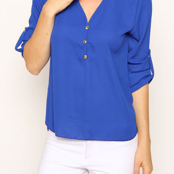 Button Trimmed 3/4 Sleeve Top