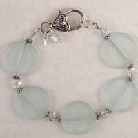 SEABR03 Pale Green Sea Glass Bracelet with Clear Swarovski Crystals