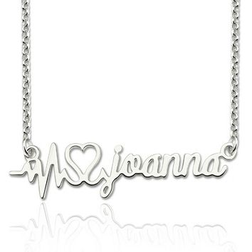 Heartbeat Style Custom Name Necklace