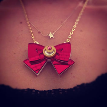 Sailor moon bow red mirror laser cut necklace by didepux on Etsy