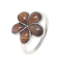 GENUINE HAWAIIAN KOA WOOD PLUMERIA FLOWER RING 15MM STERLING SILVER 925