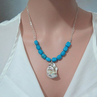 Natural Sea necklace, Blue Necklace, Just for you, Charm blue necklace, Seashell Necklace, Turquoise Silver Necklace, Dolphin necklace