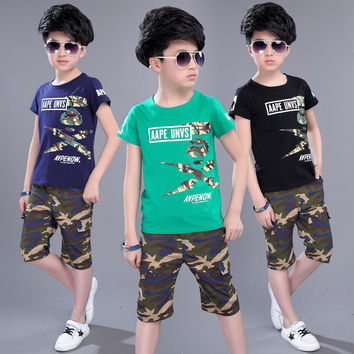 Boys Summer Camouflage Suit T-shirt Shorts Clothing Set High Quality 100% Cotton Casual Style Big Boys Clothes Sets 5-16 Years