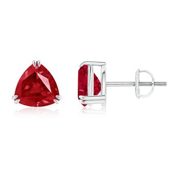 Classic Claw Set Trillion Ruby Basket Stud Earrings