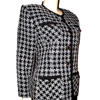 "Iconic French BAGATELLE B&W Houndstooth Blazer with Black Soutache Trims - size 8, 37"" bust"