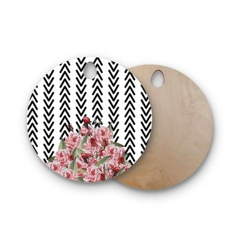 "Tobe Fonseca ""Spring Pattern Arrow Pink"" Pink Multicolor Illustration Round Wooden Cutting Board"