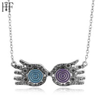 Luna Lovegood glasses necklace Blue Red Silver Evil Eye Choker Necklace For Women Jewelry Collier Boheme Joyas For Girl Women