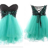 Fashion Lace Ball Gown Sweetheart Mini Prom Dress