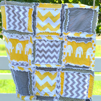 RAG QUILT, Elephant, Chevron, Baby Blanket in Mustard Yellow and Gray Ready to Ship