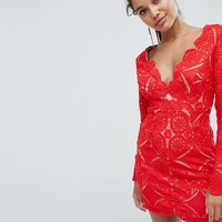 Love Triangle V Neck Mini Dress In All Over Lace at asos.com