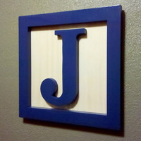 Wood Block Letter Wall Hanging 14x14 Any Letter