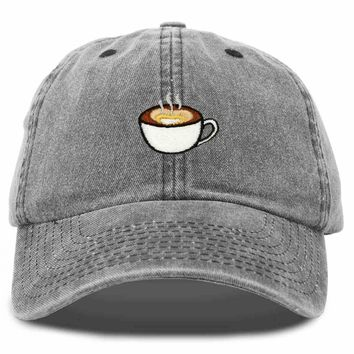 DALIX Cappuccino Hat Coffee Cup Womens Baseball Cap Washed