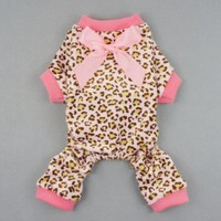 Fitwarm® Leopard Ribbon Soft Velvet Dog Pajamas for Pet Dog Clothes Comfy Pjs, Small