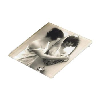 Mirror Mirror Vintage Erotica Pin-Up Girl Glass Coaster