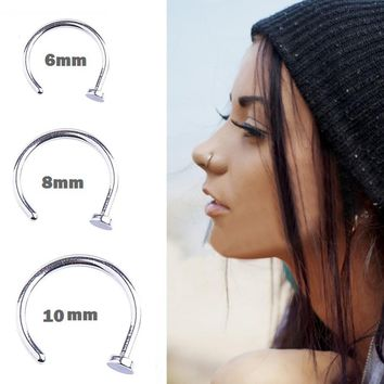 Fashion Body Jewelry 5pcs/lot Stainless Steel Nose Studs Hooks Bar Pin Nose Rings Body Piercing Jewelry For Women Men