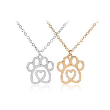 dog paw print in heart necklaces crystal hollow Puppy cat Paw Charm