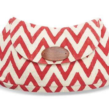 JOYN Red Chevron Button Clutch