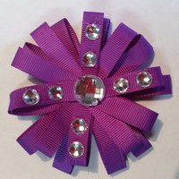Purple Diamond Studded Hair Bow