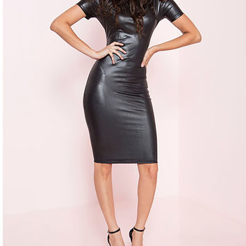 Miss Nicole Faux Leather Short Sleeve Midi Length Dress
