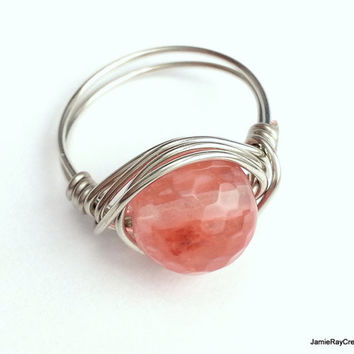 Silver Wire Wrap Faceted Cherry Quartz Ring, Boho Hippie Ring, Pink Stone Ring, Coral Pink Silver Wirewrap Ring, Valentines Gift For Her