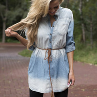 Delightful in Denim White Washed Dress
