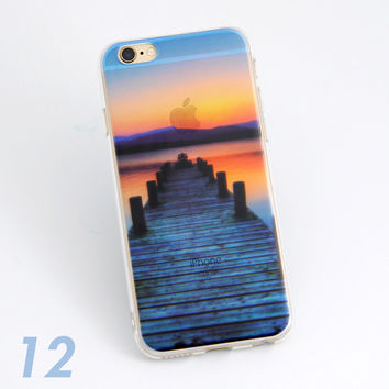 Beautiful Bridge To Ocean Dawn Sunrise Scenery Print Soft TPU Transparent Phone Back Case Cover Shell For iPhone 5 5S 6 6s 6 Plus 6s Plus 7