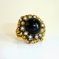 Vintage Cocktail Ring: Onyx Black Rhinestone Flower Ring, Estate Costume Jewelry, Gold Tone Adjustable Ring
