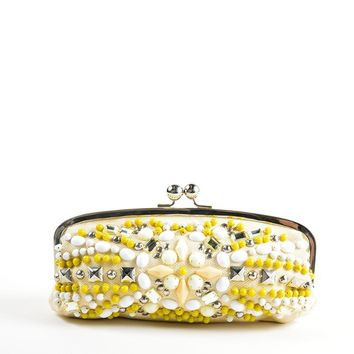 Cream, Yellow, and Silver Chloe Canvas Beaded Kiss Lock Frame Clutch Bag