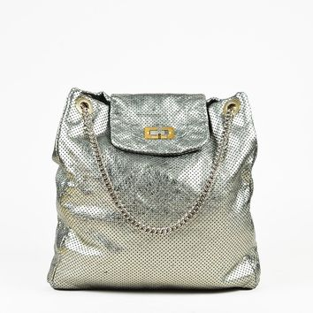"Chanel Metallic Perforated Leather Chain Link ""Drill Flap Tote"" Bag"