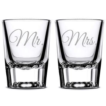 Premium Wedding Shot Glasses, Mr. and Mrs.