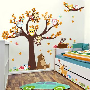Cartoon Bear Monkey Owls Tree Wall Stickers For Kids Room Decoration Home Decals Nursery Safari Mural Art Posters Children Gift