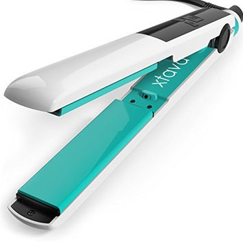 xtava Goddess Flat Iron with Ceramic Tourmaline Plates and LCD Display (Pomona) - Rapid-Heat Technology for Quick, Silky Strands