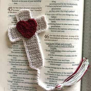 Crochet Cross Bookmark with Heart, Grey, White, Crimson, Bible Accessory