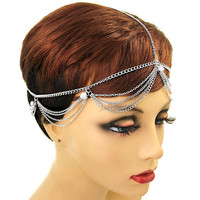 Silver Crystal Tiered Head Chain