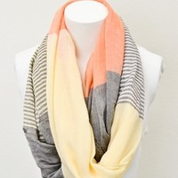 Orange Striped Color Block Infinity Scarf