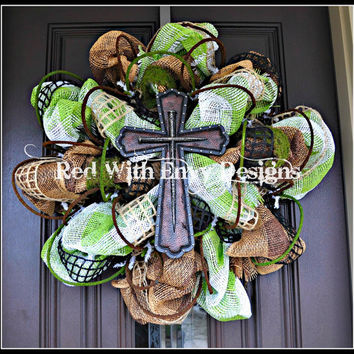 Summer Wreath, Wreath, Deco Mesh Wreath, Deco Mesh, Spring Wreath, Cross Wreath, Cross, Spring, Summer