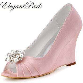 Pink Peep Toe Wedges Heel Rhinestones Satin Bride Bridesmaid Wedding Bridal Shoes Evening Prom Pumps WP1549 Green Mint Champagne